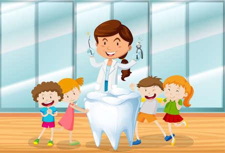Dentista e bambini felici illustrazione