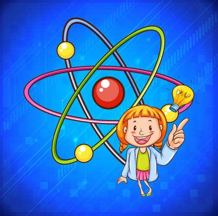 cartoon atom: Science teacher and atomic illustration Illustration