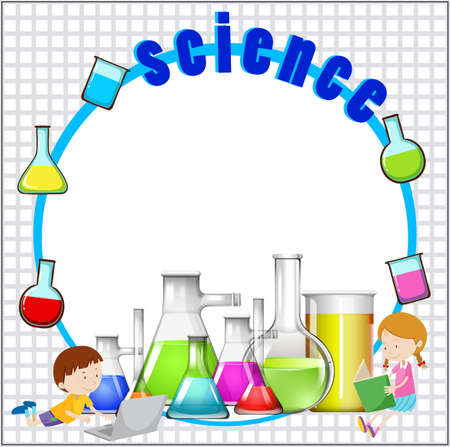 Chemical: Border design with science equipment illustration