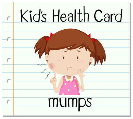 mumps: Health flashcard with girl and mumps illustration
