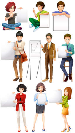 picture frame: People holding white paper illustration