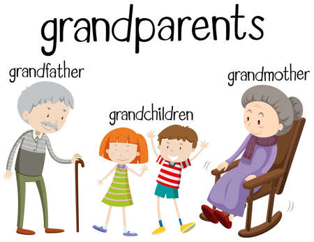 guy with walking stick: Grandparents and grandchildren together illustration Illustration