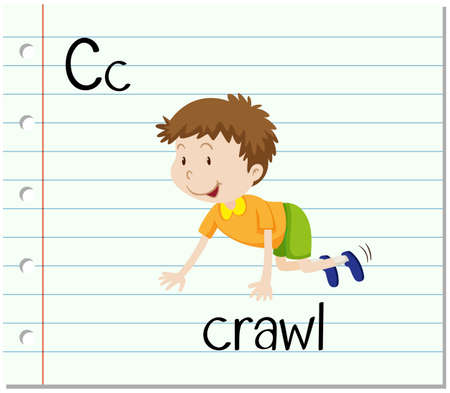 crawl: Flashcard letter C is for crawl illustration
