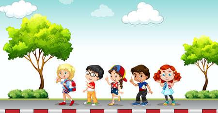 pavement: Children standing on the pavement illustration Illustration