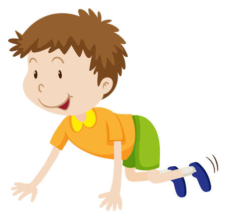 movement: Little boy crawling on the floor illustration Illustration