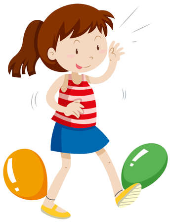 kids playing: Girl having balloons tied up on her legs illustration