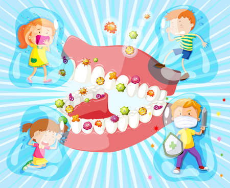 adolescent boy: Children and bacteria in their mouth illustration