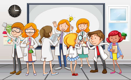 grownup: Scientists and teacher in the classroom illustration
