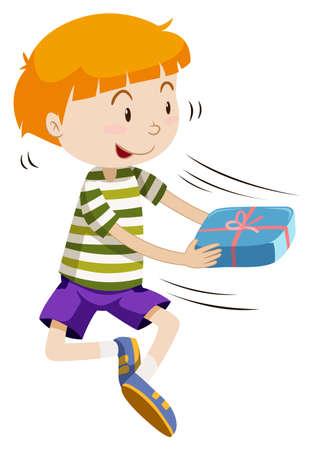 passing: Boy passing present box over illustration