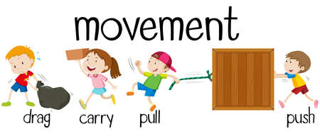 Children in four movements illustration Illustration