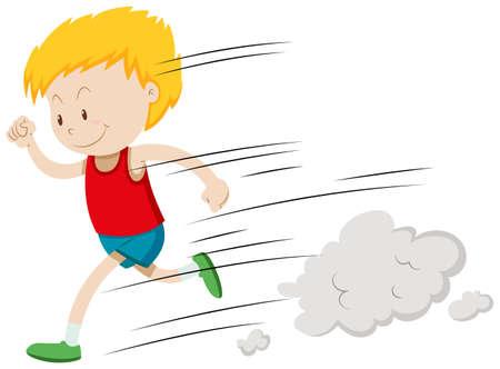 Little boy running fast illustration