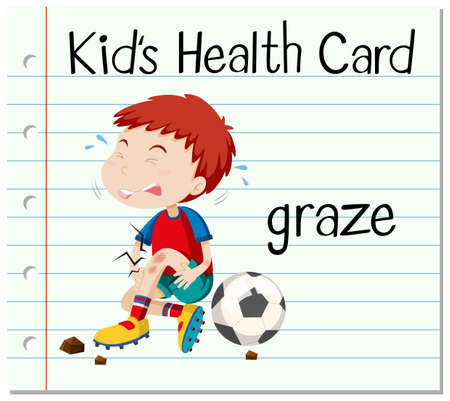 graze: Health card with boy having graze illustration