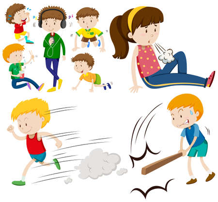 menina: Meninos e menina fazendo diferentes atividades ilustra Ilustração