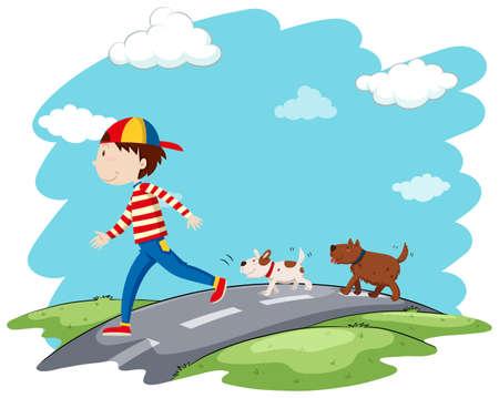 dog park: Man walking dogs on the street illustration