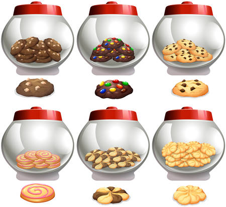flavor: Six cookies jars with many flavor cookies illustration Illustration