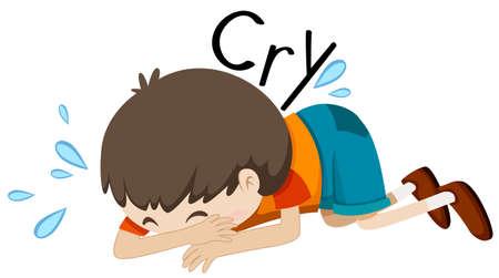 niño llorando: El muchacho triste llorar solo la ilustración Vectores