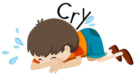 child crying: Sad boy crying alone illustration Illustration