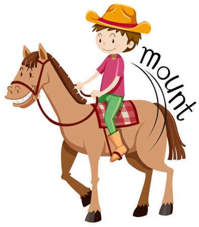 mounting: Man mounting on the horse illustration Illustration