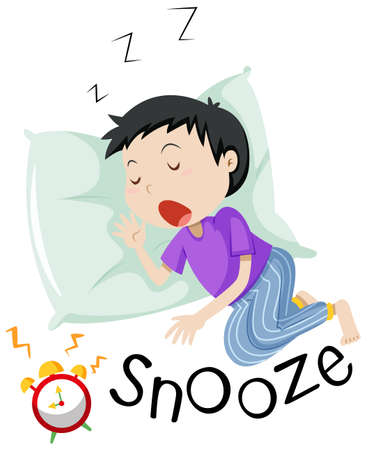 Boy sleeping with alarm clock snoozing illustration