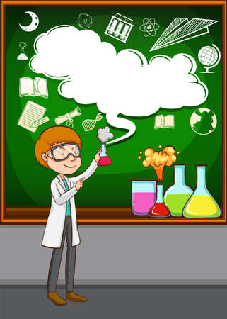 grown up: Scientist doing experiment in the lab illustration Illustration