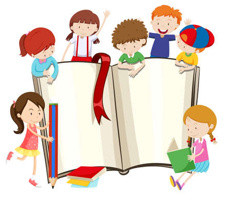 reading a book: Blank book and children illustration