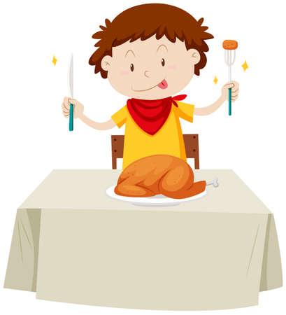 Little boy eating chicken  illustration