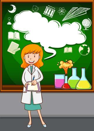 to a scientist: Science teacher teaching at school illustration Illustration