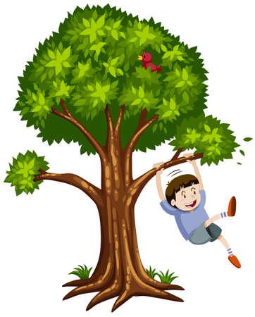 niño trepando: Niño pequeño colgado de la rama de la ilustración