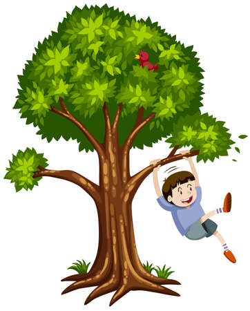 Little boy hanging on the branch illustration
