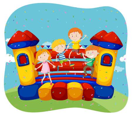 personas saltando: Los niños que saltan en la ilustración de la casa de rebote