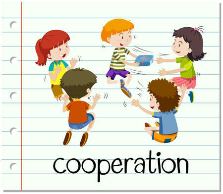 giving gift: Word card with cooperation illustration