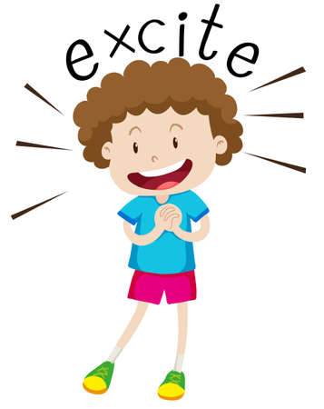 being: Boy with curly hair being excited illustration Illustration