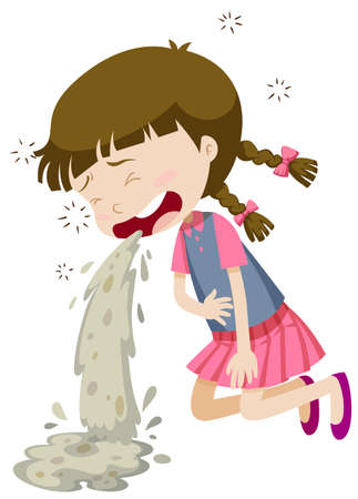vomiting: Little girl vomiting from food poisoning illustration Illustration