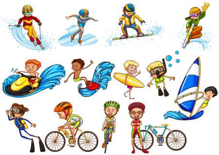 moto acuatica: Las personas que hacen diferente ilustración deportes