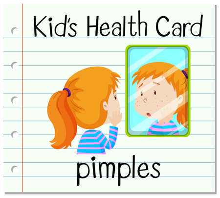 puberty: Health card with girl having pimples illustration Illustration