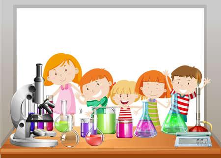 balanza de laboratorio: diseño de la frontera con los niños y la ilustración de laboratorio