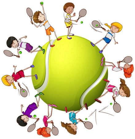 Dziewcząt i chłopców grających w tenisa ilustracji