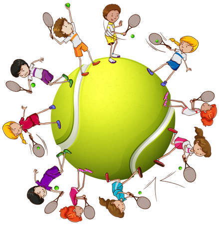 Girls and boys playing tennis illustration
