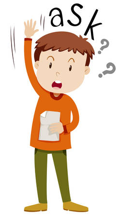 asking: Boy with paper asking questions illustration
