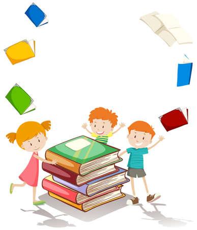 reading books: Border design with children and books illustration Illustration