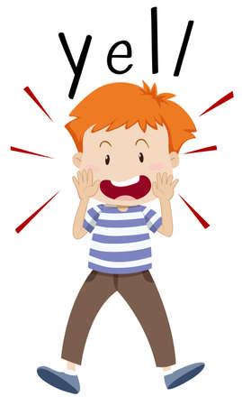 yelling: Boy yelling out for something illustration