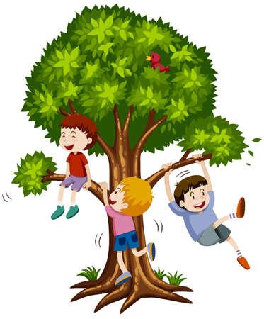 Drie jongens klimmen de boom illustratie