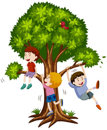 Three boys climbing the tree illustration 向量圖像