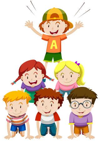 Children playing human pyramid illustration Vectores