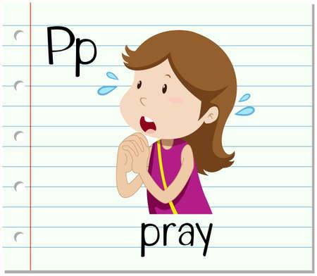 begging: Flashcard letter P is for pray illustration
