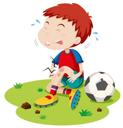 niños tristes: Muchacho que se roce de jugar fútbol ilustración