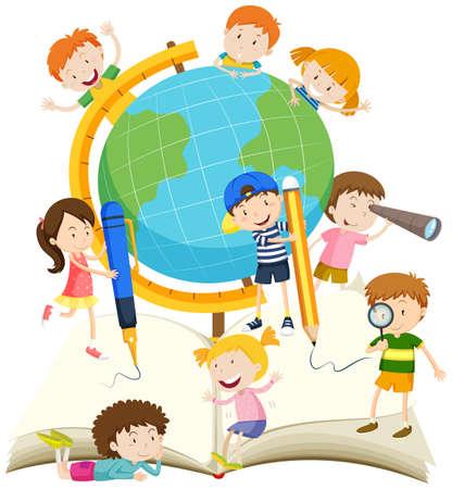 children writing: Children writing and reading book illustration