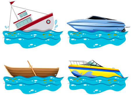 four of a kind: Four different kind of boats illustration