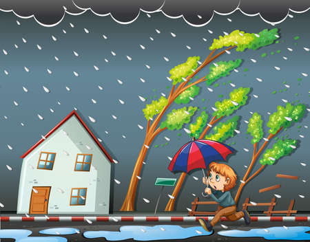 hurricane disaster: Boy running in the windy night illustration