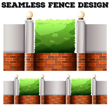 desing: Seamless fence desing with lamps illustration Illustration